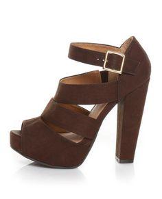 Qupid Naima 08 Cognac Burnish Chunky Heels #platform #brown