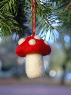 Needle Felted Christmas Ornament Magic Mushroom Fairy Toadstool.