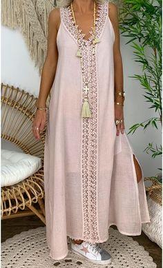 Women Solid V Neck Sling Sleeveless Lace Maxi Dress - modvivi Abaya Fashion, Fashion Dresses, Plus Size Peplum, Mode Abaya, Cute Dresses, Summer Dresses, Nude Dress, Daily Fashion, Lace Maxi