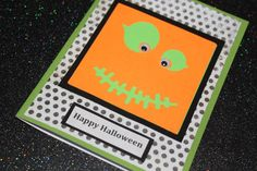 Happy Halloween Green with polka dots pumpkin face handmade card by AnLieDesigns, $2.00