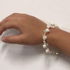 Made a pearl silver wire crochet bracelet!