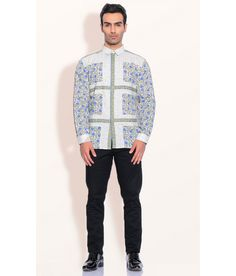 Ashish N Soni Green Cotton Floral Stripe Shirts, http://www.snapdeal.com/product/designer-wear-green-cotton-floral/1912379404