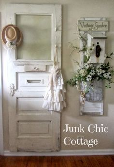 Junk Chic Cottage: Entertainment Cabinet and Entry Way What do you do with old doors? Decor, Shabby Chic, Chic Kitchen, Vintage Doors, Shabby, Junk Chic Cottage, Chic Decor, Home Decor, Shabby Cottage