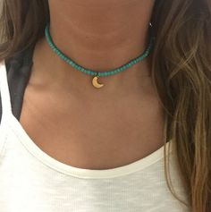 Turquoise stretch choker necklace with moon charm by DeepDownDixie
