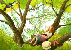 Daydreaming in paradise. Cartoon Pics, Girl Cartoon, Cartoon Art, Art Drawings For Kids, Cute Drawings, Cute Pictures, Beautiful Pictures, Relaxing Art, Illustration Girl