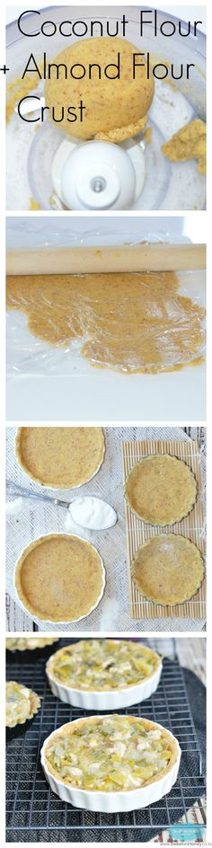 Grain Free pie crust made with almond meal and Coconut flour. Sugar free. Perfect for a dessert pie or lunch pie.