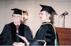 """The Rev. Dr. David M. Carnrike confers the Doctor of Letters Degree on  Dr. John Nobile.  Dr. Noble in his book """"I found God in Soviet Russia"""" describes his time in a Russian prison after world war II"""