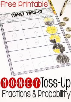 Steps 22 and This free money fractions and probability activity is a fun way to introduce these math topics to graders! 3rd Grade Activities, Fraction Activities, Math Activities For Kids, Fun Math, Math Resources, Library Activities, Probability Games, Math Games, Subtraction Activities