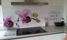 Kitchen Splashback Designs, Kitchen Backsplash, White Kitchen Cupboards, Glass Bathroom, Where The Heart Is, Glass Door, House Design, Colours, Diy