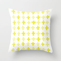 Yellow Crosses Throw Pillow