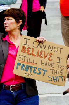 Don't know what she is protesting but this is one of the best protest signs I have ever seen! LOL
