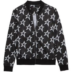 Perfect Moment Printed stretch-mesh bomber jacket (525 BAM) ❤ liked on Polyvore featuring stretch jersey, mesh jersey and black and white jersey