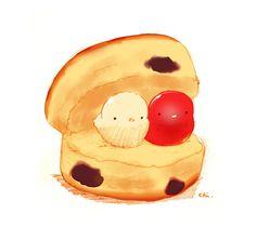 Scone by YamashitaHikaru29.deviantart.com on @DeviantArt Cute Food Drawings, Cute Animal Drawings Kawaii, Kawaii Art, Cute Food Art, Cute Art, Kawaii Dessert, Food Cartoon, Rabbit Art, Cute Chibi