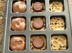 1.  Place slices of pre-packaged cookie dough at the bottom of your muffin pan  2.  Next place a reece's cup in the middle.    3.  Top with prepared box brownie mix  4.  Bake for 28 minutes in a preheated 350 degree oven.  (Or however long it says on your brownie mix)  5. Enjoy!