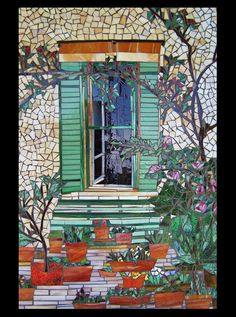 mosaic french window overlooking a garden panel - sold