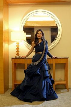 Gorgeous dark blue ruffle dress with tassels for cocktail party. Party Wear Indian Dresses, Indian Wedding Gowns, Indian Gowns Dresses, Party Wear Lehenga, Indian Fashion Dresses, Dress Indian Style, Indian Designer Outfits, Party Dress, Lehenga Wedding