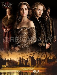 Mary (Adelaide Kane), Francis (Toby Regbo), Bash (Torrance Coombs), and Queen Catherine (Megan Follows) in #Reign on the CW. Season 2 premier is on October 2nd!