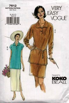 Vogue 7612 KOKO BEALL Collared Tunic Top & Skirt Pattern Size 8 10 12 UNCUT Factory Folded Out Of Print
