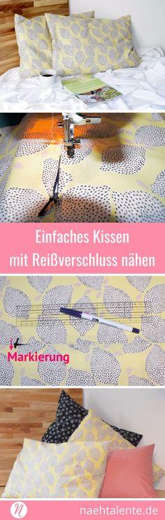 Einfaches Kissen mit Reissverschluss - Näh mit unserer Nähanleitung für Anfänger ein tolles Kissen mit Reißverschluß. ✂️ Nähtalente.de - Magazin für kostenlose Schnittmuster und Hobbyschneider/innen ✂️mit Schnittmuster-Datenbank ✂️ How to sew an easy pillow cover? Tutorial for beginners. ✂️ Nähtalente - Magazin for sewing and free sewing pattern ✂️ #nähen #freebook #schnittmuster #gratis #nähenmachtglücklich #freesewingpattern #handmade #diy via @Naehtalente