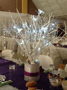 Tree and Fairy lights with Crystals attached made a beautiful inexpensive centerpiece