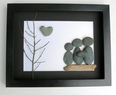 Personalized Family Gift and Custom Stone Art Work - Family of Three on Etsy, $60.00 CAD