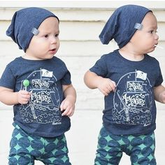 Twin boys all blue outfit. Find Your Adventure pirate tee by Root Avenue