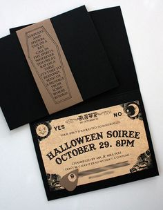 """""""Serpents and Spiders, tail of a rat..."""" Ouiji Board party invite with Madame Leota quote."""