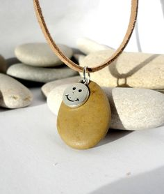 Natural Spanish stone necklace. Smiley face by EvasBeachStones