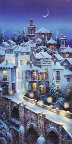 Luis Romero Christmas Scenes, Christmas Art, Winter Christmas, Snow Scenes, Winter Scenes, Winter Pictures, Christmas Pictures, Christmas Illustration, Illustration Art