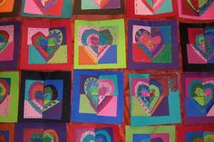 Fraction art-students decorate a heart, cut it into fourths, and swap with friends. Make a quilt with the results.