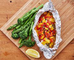 Peixe ao Vapor com Brócolos e Espargos