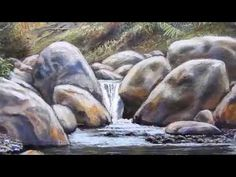 How to paint oil a river Alirio fajardo 2017 Acrylic Painting Rocks, Acrylic Painting For Beginners, Simple Acrylic Paintings, Air Brush Painting, Step By Step Painting, Beginner Painting, Acrylic Art, Painting & Drawing, Watercolor Paintings