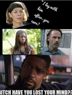 This part killed me, f'k you cabbage patch lady with bad hair & hideous color. Rick is mine, I mean Michonne's. Walking Dead Funny, Fear The Walking Dead, Best Tv Shows, Best Shows Ever, Rick And Michonne, Twd Memes, Go Getter, The Day Will Come, Stuff And Thangs