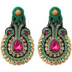 """Zarcillos """"Petunia"""" en verde con fucsia Petunias, Soutache Earrings, Drop Earrings, Beading, Fun, Jewelry, Fashion, Macrame Earrings, Hot Pink"""