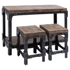3 Piece Augusta Table & Stool Set - Three-piece industrial-style table and stool set with planked surfaces and riveted metal hardware. Table Bar, Pub Table Sets, Dining Room Sets, Wood Table, Table Stools, Pub Tables, Dining Tables, Restaurant Tables, Metal Furniture
