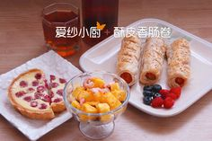 #Breakfast# Crispy sausage roll & Raspberry pie & Arctic shrimp Mango Salad & Cold Black Tea~