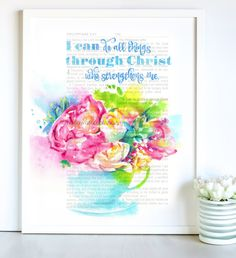 New to MariaWatercolor on Etsy: I can do all things Floral Watercolor Bible Art (19.00 USD)