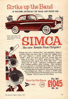 https://flic.kr/p/JRxhpR | 1960 Chrysler Simca Aronde Sedan Aussie Original Magazine Advertisment