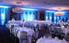 Versailles Ballroom with complimentary uplighting in your choice of color