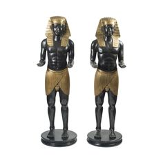 A Pair of French Gilded & Patinated Bronze Egyptian Figures @The HighBoy at www.thehighboy.com #HighBoyStyle | #antique #antiques #vintage #egyptian #figures
