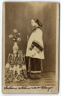subject: Chinese woman in studio setting SHANGHAI process: albumen photograph mounted cdv size: cdv(approx 10.5 x 6.5 cm) Prices on listings are examples cdv cc other small format images.