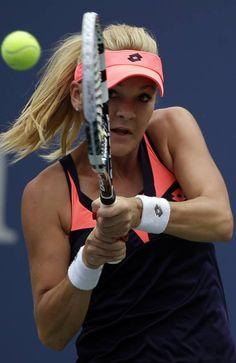 Agnieszka Radwanska, of Poland, returns a shot toSpain's Silvia Soler-Espinosa in the first round of the 2013 US Open tennis tournament, Monday, Aug. 26, 2013, in New York. (AP Photo/David Goldman)