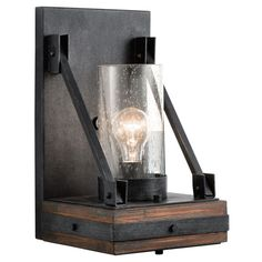 Colerne Auburn Stained One Light Wall Sconce Kichler 1 Light Armed Glass Wall Sconces Wall