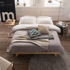 [미즌하임] 미룸 Q 침대 [헤드無] (매트별매) / 퀸침대 원목침대