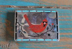 Vintage Zuni Sterling Silver Inlay Red Cardinal Belt Buckle By M. Edaakie