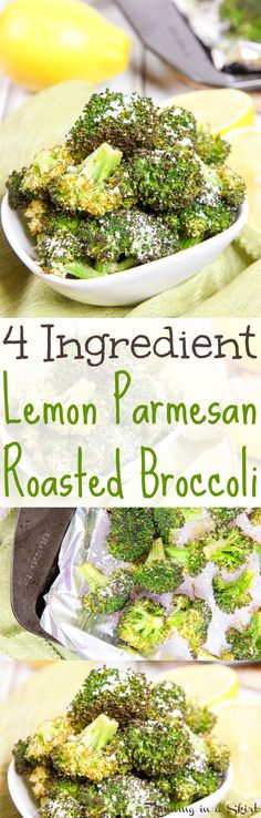 Healthy 4 Ingredient Lemon Parmesan Roasted Broccoli recipe.  The best broccoli recipe - totally addictive.  Oven roasted on a sheet pan for the perfect side dishes recipes.  Simple. easy and delicious! / Running in a Skirt