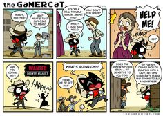 I love but I wish the people weren't soooo touchy. I also have no idea what I did to offend the newspaper boy, but he wouldn't sell me a…↓ Read the rest of this entry. Gamer Cat, Honor System, How To Play Minecraft, Red Dead Redemption, What Goes On, Comics, Cartoons, Comic, Comics And Cartoons