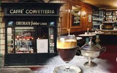 Bicerin is a specialty drink of Turin, Italy made from liquid chocolate, espresso and whipped cream, province of Turin , Piemonte region