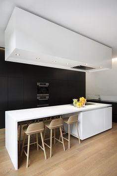 black & white kitchen dream with wooden details!