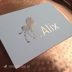 Geboortekaartje Alix (rose gold foil | rosé goudfolie zebra) - sofiemustique.be | birth announcement letterpress